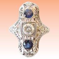 18KARAT Art Deco White Gold Filigree Diamond and Sapphire Ring