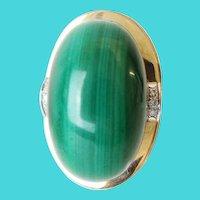 "14K  Malachite and Diamond Ring  ""Big & Exquisite """