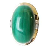 "14K  Malachite and Diamond Ring  ""Big & Exquisite """