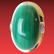 "14KARAT MALACHITE & DIAMOND RING  ""BIG & EXQUISITE"""