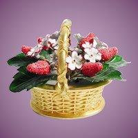 """Vintage Enamel Strawberry Basket  """"Gotham Style"""""""