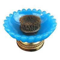 "Antique French Opaline Bronze Pen Brush Nib Cleaner ""RARE BLUE OPALINE"""