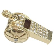 "14KARAT Yellow Gold Diamond Whistle ""RARE & WONDERFUL"""