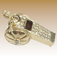 "14KARAT Yellow Gold Diamond Whistle ""RARE & WONDERFUL"""