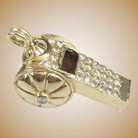 "14K  Yellow Gold Diamond Whistle ""RARE & WONDERFUL"""