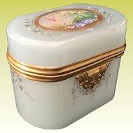Magnificent 19C Moser Oval Seafoam Opaline Casket Hinged Box ~ Birds, Nest, Eggs, Foliage &  Swags.