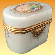 Magnificent 19C Moser Oval Seafoam Opaline Casket Hinged Box ~ Birds, Nest, Eggs, Foliage &  Swags.