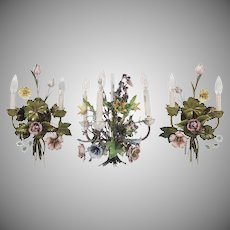 Vintage Italian Floral Enameled Ceiling Light Fixture ~  Three Branching Arms with Candle-form Lights ~ Pair Matching  Wall Sconces
