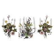 Vintage Italian Floral-enameled Ceiling Candelabra & Match Sconces