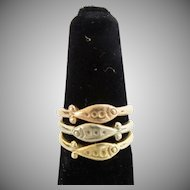 "Three 14KARAT Stacking ""FISH"" Rings  ""THREE COLORS"""