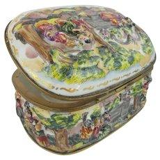 "Antique Capodimonte Porcelain Oval Casket Hinged Box ""LADIES & MEN ON HORSES"""