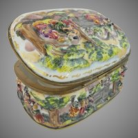 "Wonderful Antique Capodimonte Porcelain Oval Casket Hinged Box ""LADIES & MEN ON HORSES"""