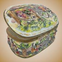 "Wonderful Antique Capodimonte Porcelain Oval Casket Hinged Box ""LADIES & MEN ON HORSES"""