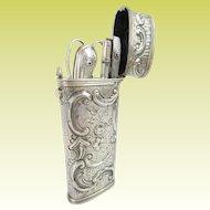 "Antique French Silver Necessaire Etui 'SUPERIOR QUALITY"""