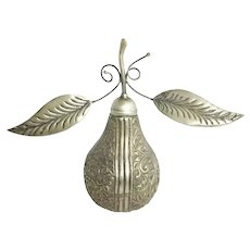 Vintage Estate Silver Pear Rosewater Sprinkler  ~ Magnificent Floral and Foliage with a Screw on Top.