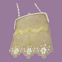 Beautiful Gilt Silver Jeweled Handbag ~ Blue Gems at the Clasp.  Very Fine Fringe and Silver Lace Flower Border