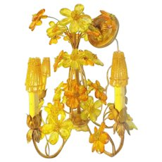 CZECH Five Light Jeweled Flower Chandelier ~  Exquisite Jeweled Flowers of Cut and Beveled Glass wGlass Beaded Shades…