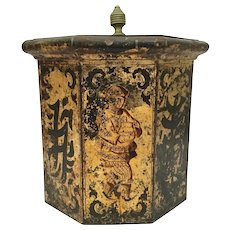 Antique Chinese Figural Tole Ware Hinged Box~ Great Size and Shape