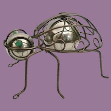 """Pop Art Bug -Metal Body w """"Two Silver Balls"""" Head and Body  and  Two Big Green Glass Cat Eyes Marble"""