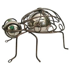 "Pop Art Bug -Metal Body w ""Two Silver Balls"" Head and Body  and  Two Big Green Glass Cat Eyes Marble"