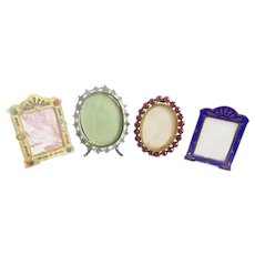 4 Antique Miniature Picture Frames ~  A Charming Group of Table Top Easel Back Frames  ~ Ready for Your Special Little Pictures.
