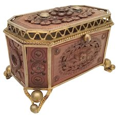 Magnificent 19C French  Jeweled  Wood Casket Hinged Box ~ Outstanding Gilt Ormolu Footed Base