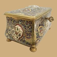 Antique French Bronze Champlevé Casket Hinged Box ~ Pretty Footed Base and Velvet Interior ~ A MASTERPIECE