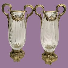 """Vintage Estate 14"""" Double Handle Crystal Vases with Beautiful Gilt Bronze Mounts ~ PAIR"""