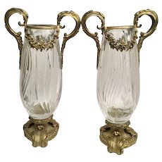 "Vintage Estate 14"" Double Handle Crystal Vases with Beautiful Gilt Bronze Mounts ~ PAIR"