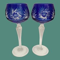 """PAIR 7 ½"""" Vintage Estate Bohemian Cobalt Blue Cut to Clear Wine Glasses ~ Absolutely Wonderful Cut and the Majestic Cobalt Blue is a Winner!"""
