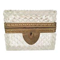 Beautiful Antique French  Diamond Cut Casket Hinged Box  ~ Very Fine Ornate Mounts