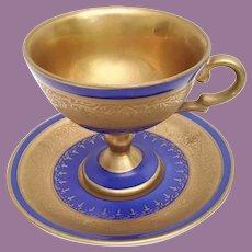 Royal Vienna Demitasse Cup and Saucer ~ Beautiful Rich Deep Blue Porcelain wWonderful Gilding