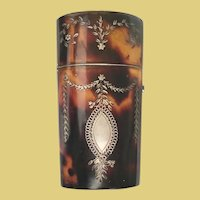 Antique Faux Tortoise Etui w Silver Pique  ~  A  Stunning Shell Etui wi Beautiful Silver Swags and Flowers Pique