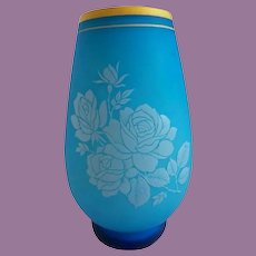 Antique French Blue Opaline Vase ~ Beautiful Blue Opaline Cased w White Opaline and Pretty Roses