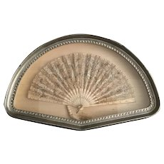 19C Exquisite Jeweled Fan in a Fabulous  Gilt Silver Frame