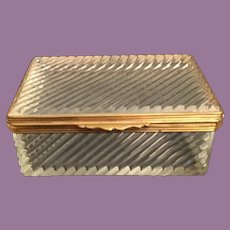 Exquisite French Crystal Hinged Box ~ A Simply Lift Clasp and Elegant Gilt Mounts ~ Wonderful Size and Shape.