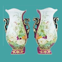 Antique Porcelain Old Paris Vases w ROSES & FLOWERS ~  Grandest Figural Double Handle Vases ~ Roses and Glorious Burgundy with Purple Flowers