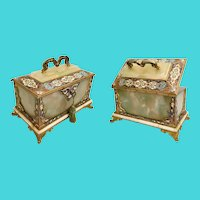 "9"" Antique French Bronze Champlevé and Green Onyx Casket Hinged Box. ~ RARE Stationary Handle wStunning  Footed Base"