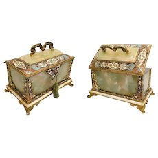 """9"""" Antique French Bronze Champlevé and Green Onyx Casket Hinged Box. ~ RARE Stationary Handle wStunning  Footed Base"""