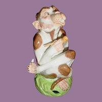 Sassy Dresden Porcelain Monkey  wSmoking Pipe