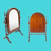 RARE & Outstanding Antique Miniature Doll Dressing Mirror, Adjustable.