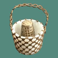 Antique French Opaline Thimble Holder Basket  w RARE Brass Thimble