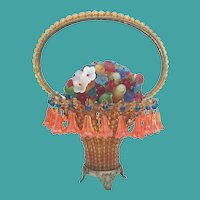 1920   Czechoslovakian Basket of Flowers with a Beaded Handle ~ A Basket of Flowers w 22 Hanging Crystal Flowers ~ WOW! THIS ONE IS A KILLER!