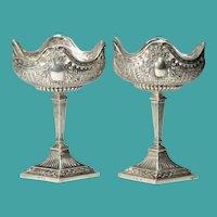 Exquisite  Antique German Hanau  Silver Compotes  ~ Original Glass Liners Glass