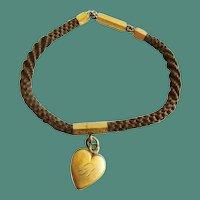 "Antique Pinchbeck Mourning Hair 7 ¼"" Bracelet Heart Pendant"