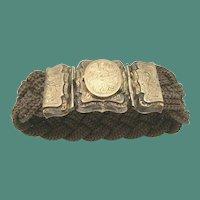 9K  1840 Mourning Hair Locket Bracelet ~ Engraved L.A. Mitchell ~ Charming  Woven Pattern Hair Bracelet
