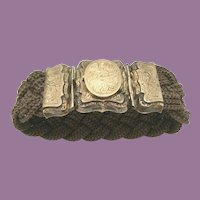 9K  1840 Mourning Hair Locket Bracelet ~ Engraved L.A. Mitchell ~ Charming  Woven Pattern Hair Bracelet