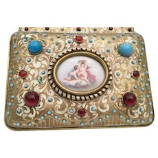 1900 Austrian Jeweled Bronze Enamel Casket Hinged Box ~ Exquisite  Porcelain Putti Plaque ~  Grandest Box LOADED with GEMS