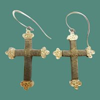 Antique 14KARAT Hair Cross Crucifix Earrings ~ RARE Hair Earrings