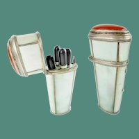 Stunning Antique Mother of Pearl Carnelian Silver Etui ~ Four Beautiful Silver and Ebony Pieces